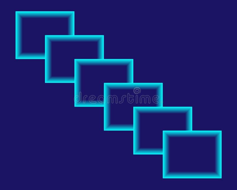 Quadrati blu luminosi al neon del fondo dell'estratto illustrazione di stock