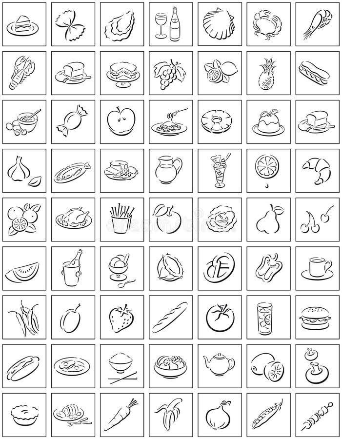 Quadrati con i simboli dell'alimento royalty illustrazione gratis