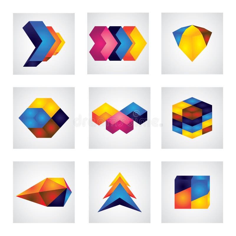 Quadrati 3d, frecce & icone astratti di vettore di progettazione dell'elemento del cubo illustrazione vettoriale