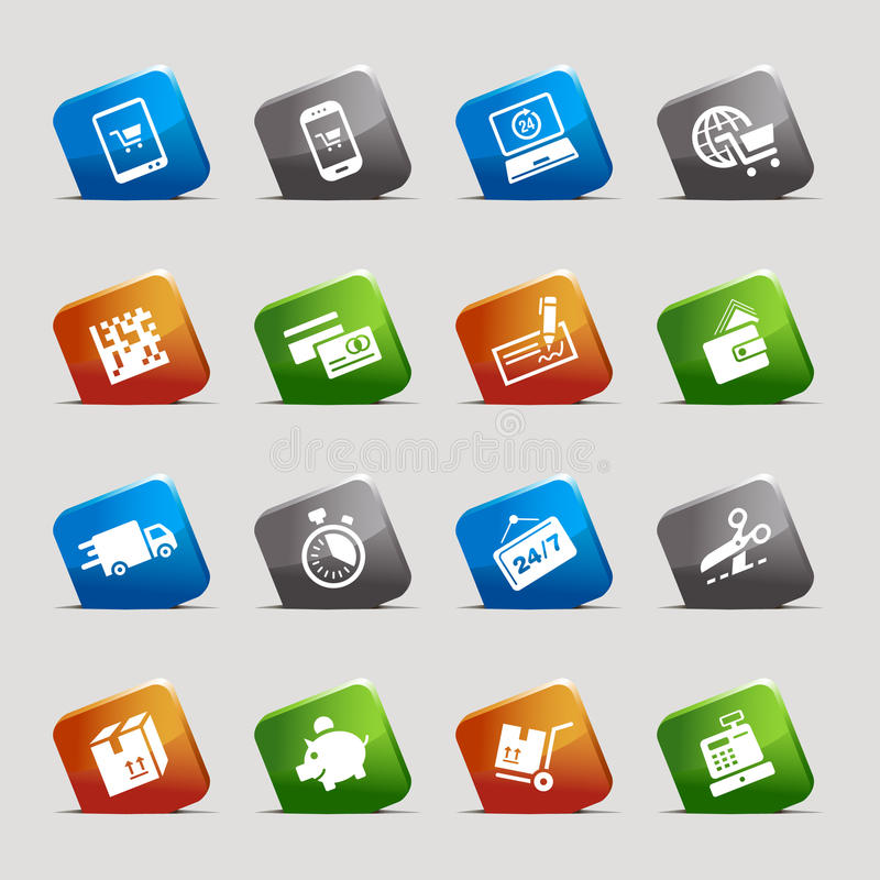 Quadrati del taglio - icone di acquisto illustrazione di stock
