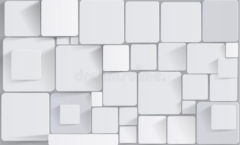 Quadrati e cubi sulla parete Carta da parati stereoscopica della foto per l'interno rappresentazione 3d royalty illustrazione gratis