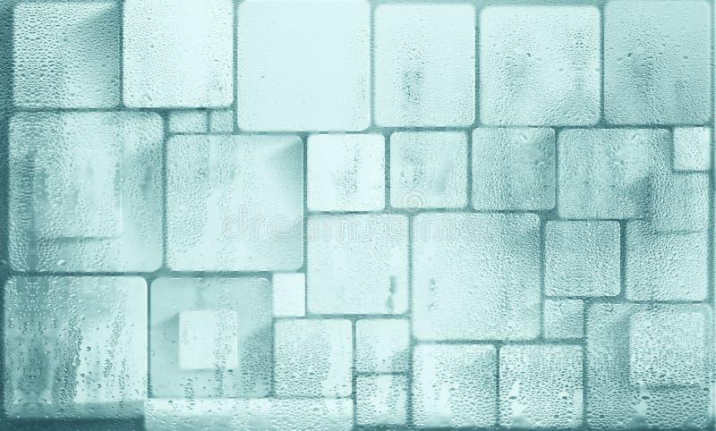Quadrati e cubi sulla parete Carta da parati stereoscopica della foto per l'interno rappresentazione 3d illustrazione vettoriale