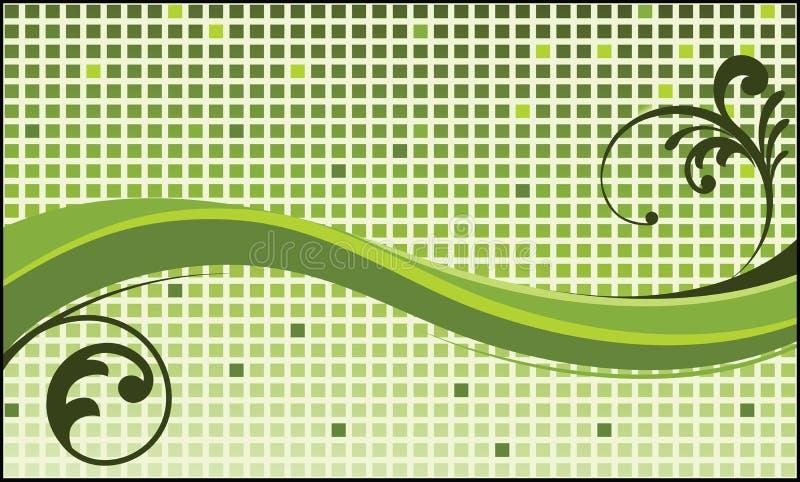 Quadrati Funky e fogliame dell'onda verde illustrazione vettoriale