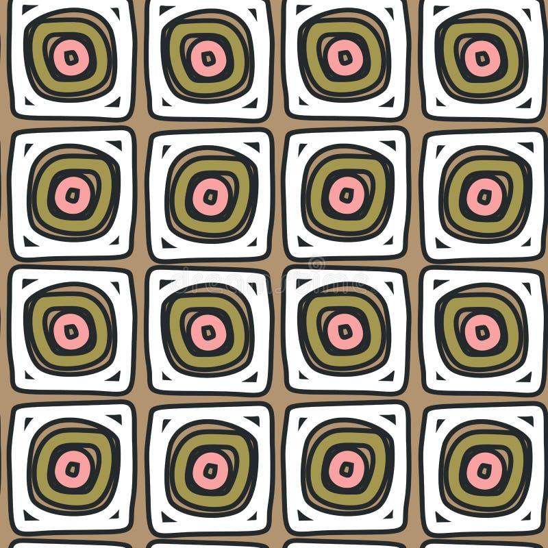 Quadrati modellati astratti disegnati a mano come i rotoli su fondo beige illustrazione vettoriale