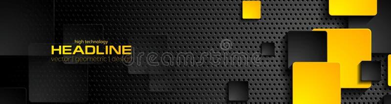 Quadrati neri arancio su fondo perforato scuro illustrazione di stock