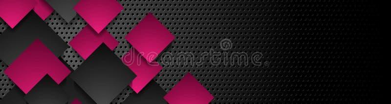 Quadrati neri porpora su fondo perforato scuro illustrazione vettoriale