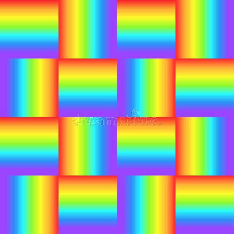 Quadrati, ornamento intrecciato colore dell'arcobaleno, struttura grafica del prisma Fondo a quadretti luminoso decorativo, super illustrazione vettoriale