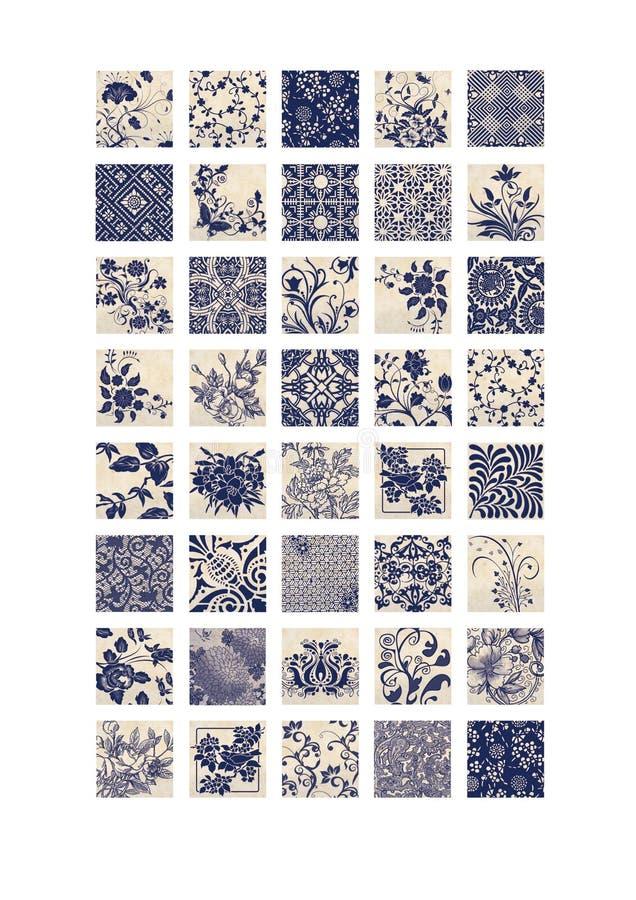 Quadratische Bilder die blauen beige Florenelemente von 1 bedruckbarem Collagen-Blatt des Zoll kopierten die bedruckbaren Bilder lizenzfreie abbildung