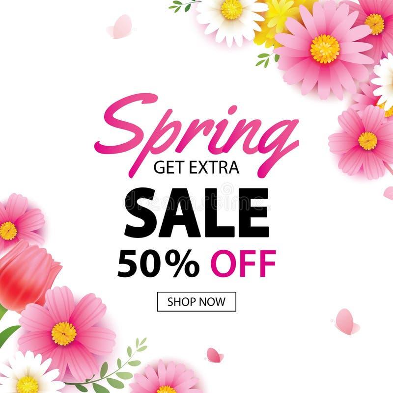 Quadratische Fahne des Frühlingsverkaufs mit blühender Blumenhintergrundschablone Entwurf für die Werbung, Flieger, Plakate, Bros lizenzfreie abbildung