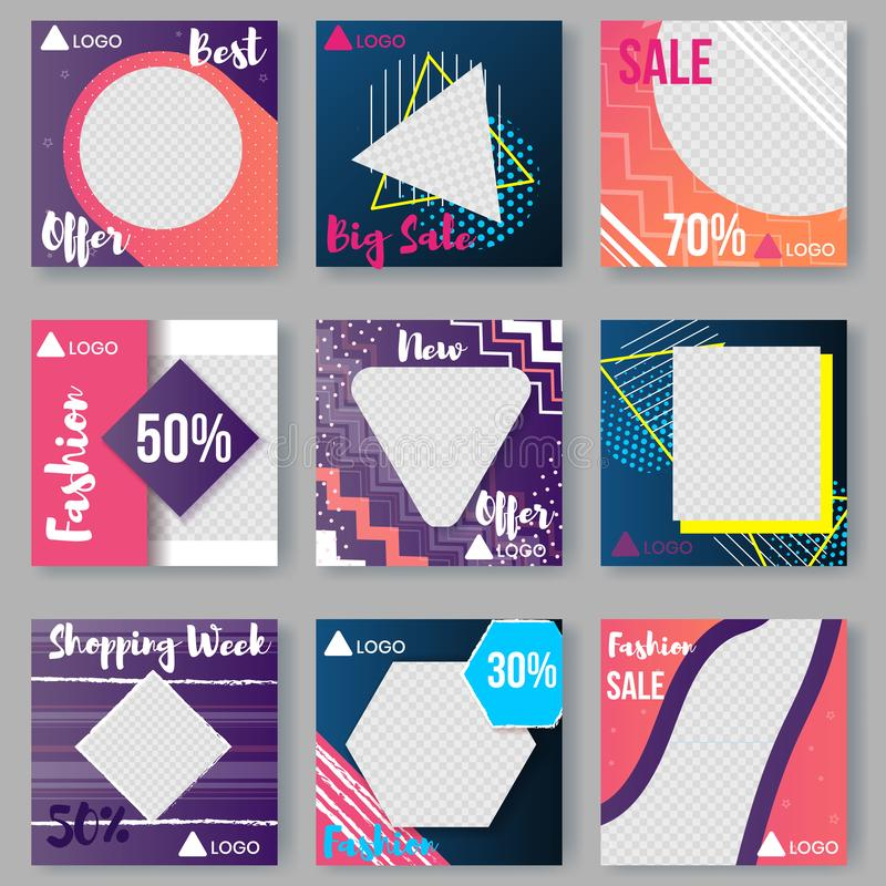 Quadratische Fahne eingestellt für Digital-Marketing, Promo-Anzeige lizenzfreie abbildung