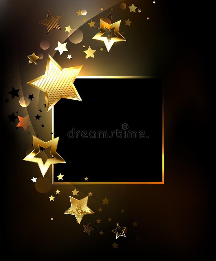 Quadratische Fahne mit Goldsternen lizenzfreie abbildung