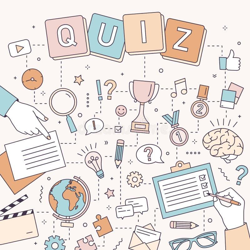 Quadratische Fahnenschablone mit den Händen von den Leuten, die Puzzlespiele lösen und von Gehirnharten nüssen, antwortende Quizf lizenzfreie abbildung