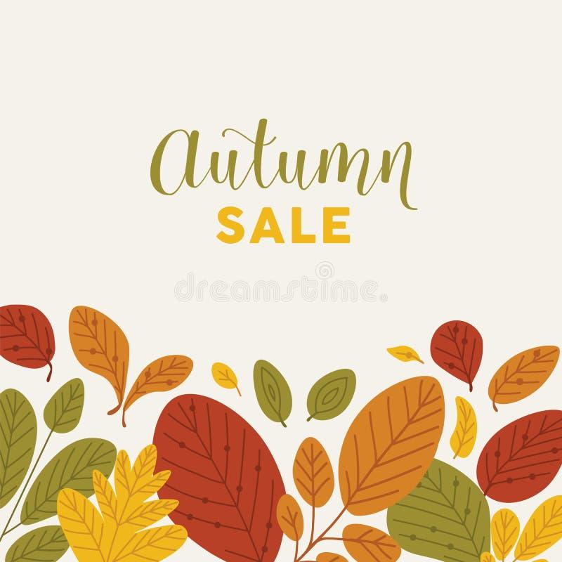 Quadratische Fahnenschablone unten verziert durch gefallene Blätter oder getrockneten Rand des Laubs und Autumn Sale-Beschriftung stock abbildung