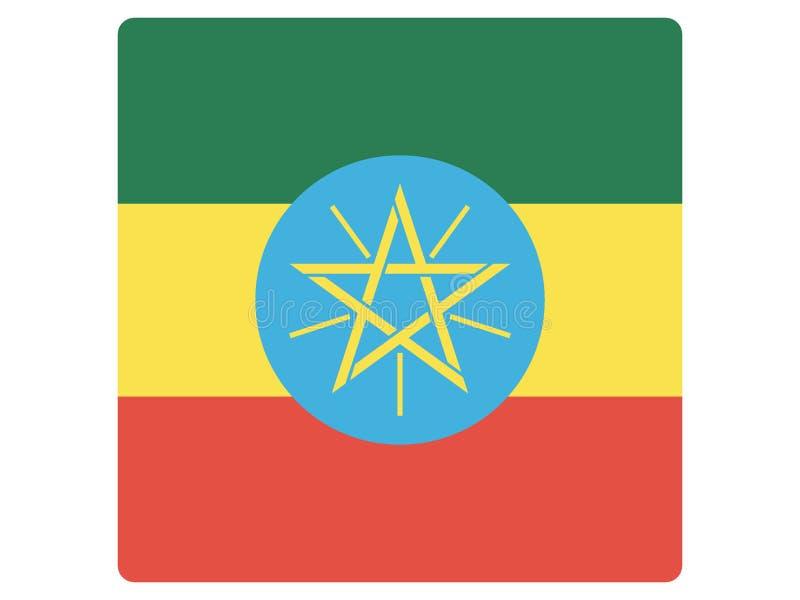 Quadratische Flagge von Äthiopien stock abbildung