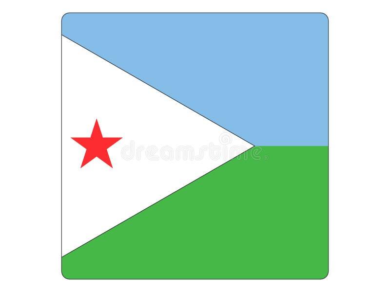 Quadratische Flagge von Dominica stock abbildung