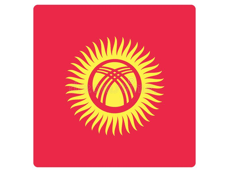 Quadratische Flagge von Kirgisistan lizenzfreie abbildung