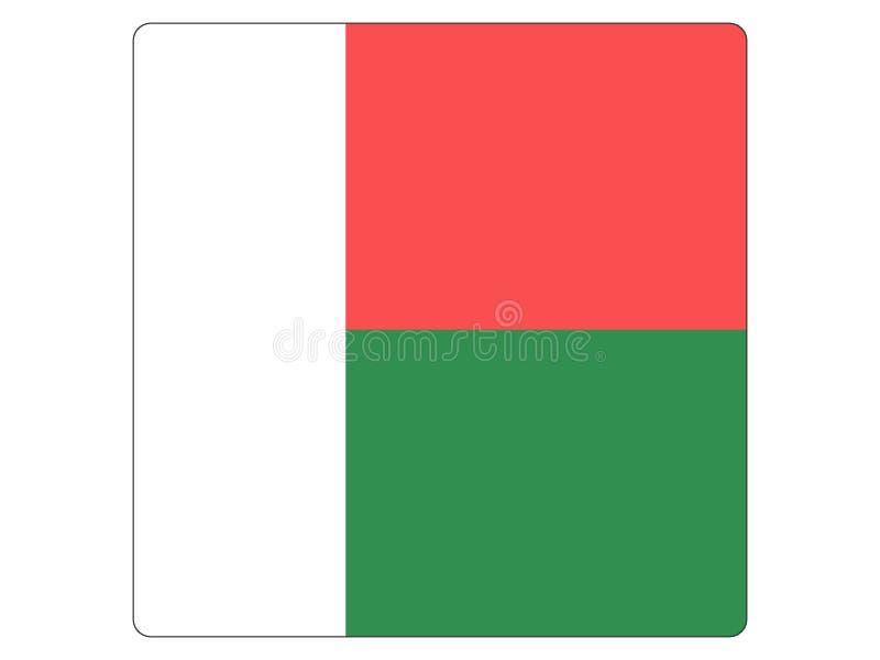 Quadratische Flagge von Madagaskar lizenzfreie abbildung