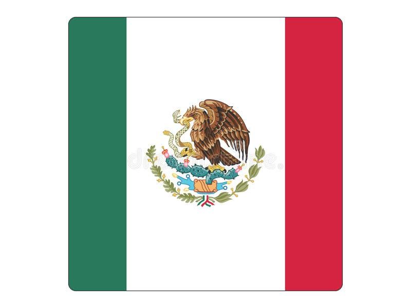 Quadratische Flagge von Mexiko stock abbildung