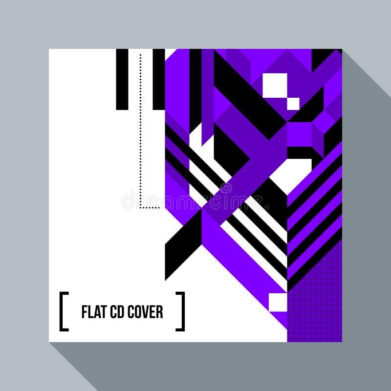 Quadratische futuristische background-/CDabdeckung mit abstraktem Element stock abbildung