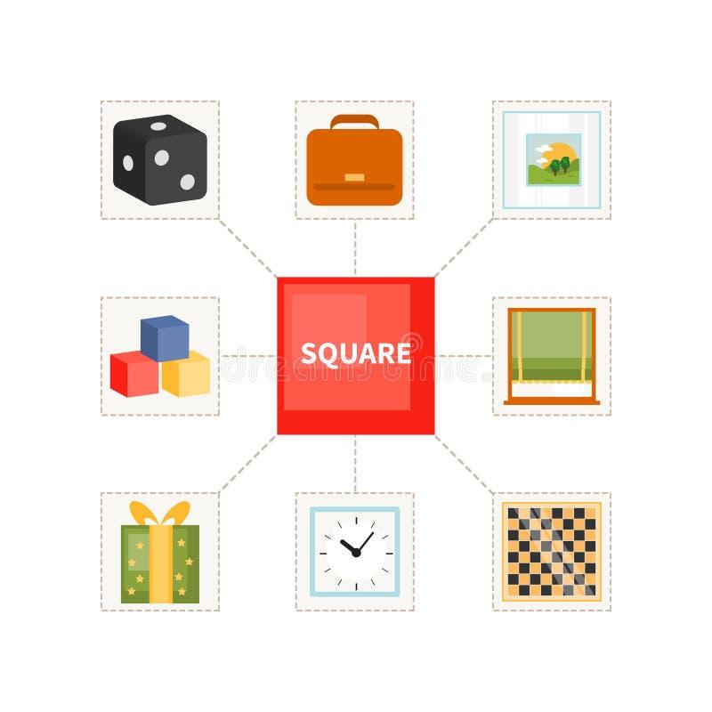 Quadratische Gegenstände für Kinder lizenzfreie abbildung