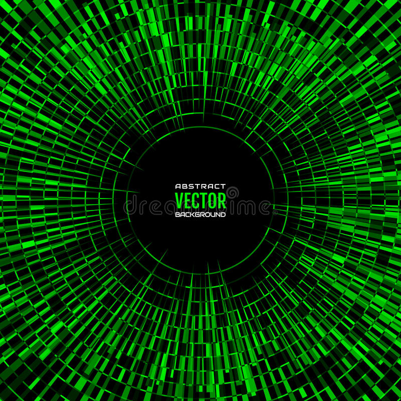Quadratische geometrische Illustration von gelegentlichen abstrakten radialformen Grüner Discoballhintergrund vektor abbildung