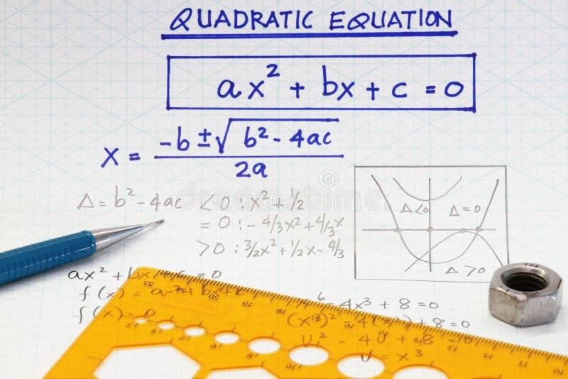 Quadratische Gleichungen stockfoto