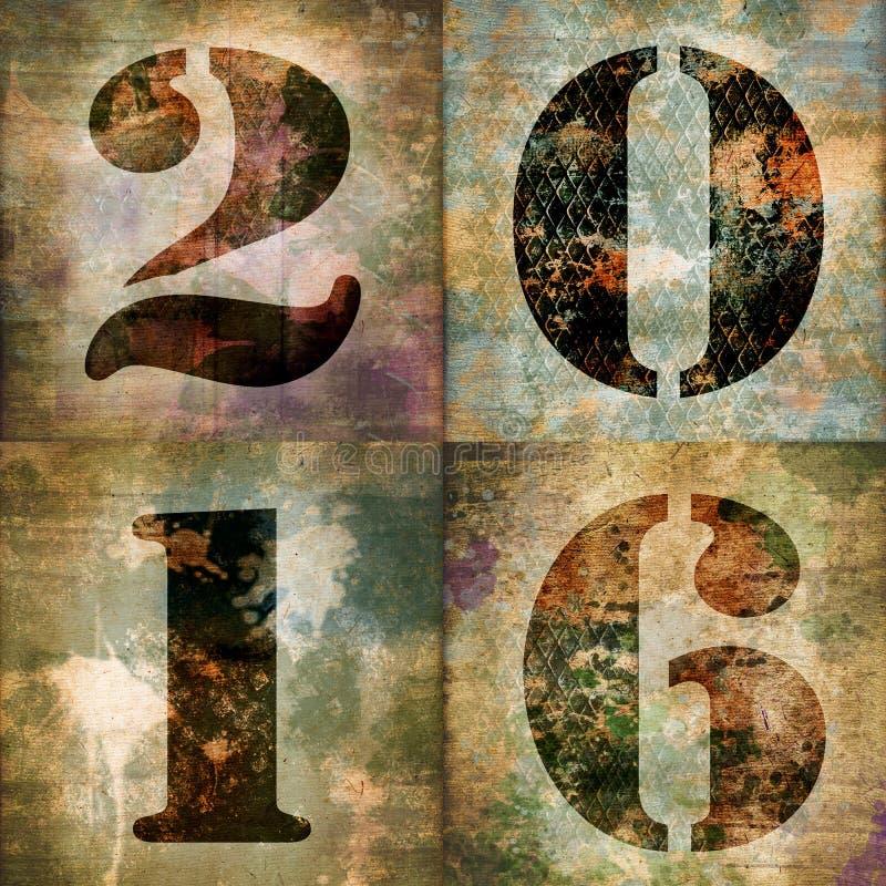2016, quadratische Grußkarte mit industriellen Zahlen lizenzfreie abbildung