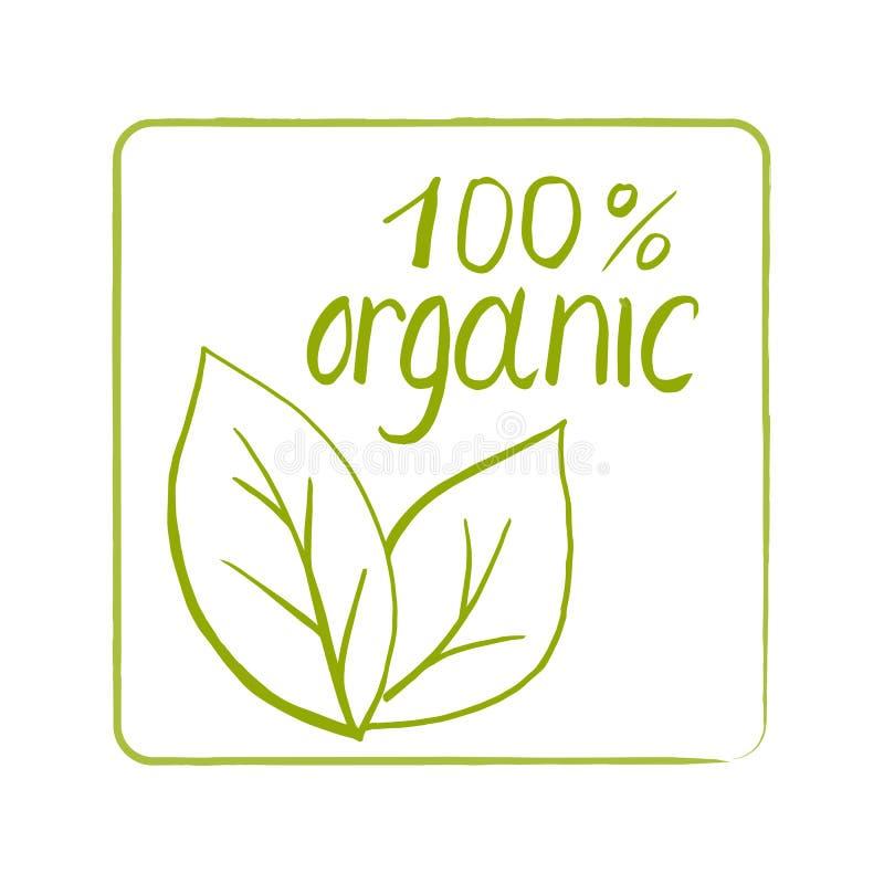 Quadratische Hand gezeichneter Stempel mit Wörtern 100% organisch stock abbildung