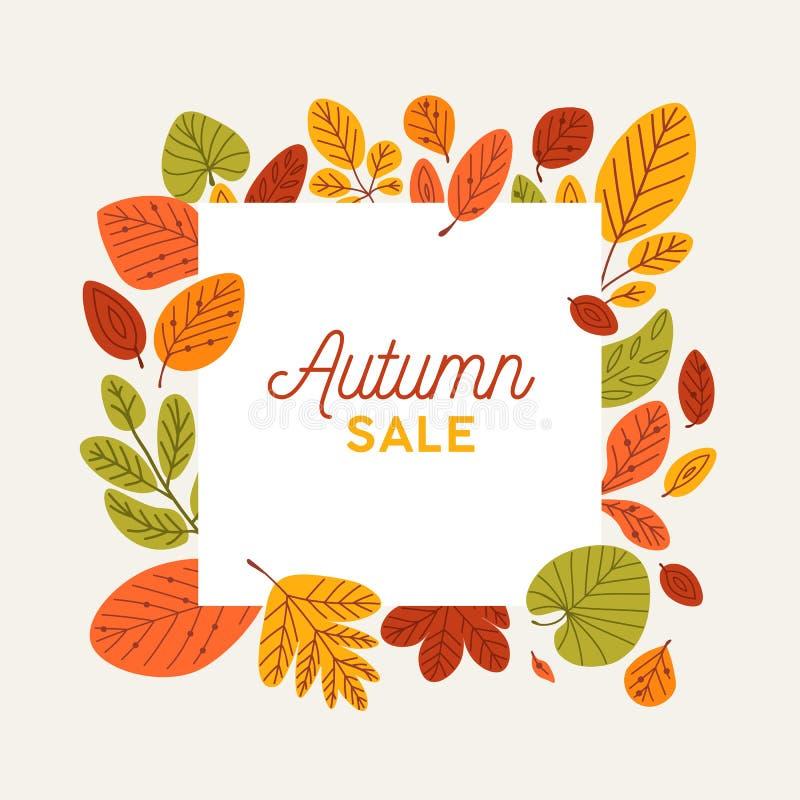 Quadratische Herbstfahnenschablone verziert durch gefallene Baumblätter Eleganter Rahmen gemacht vom trockenen Laub Dekoratives n lizenzfreie abbildung