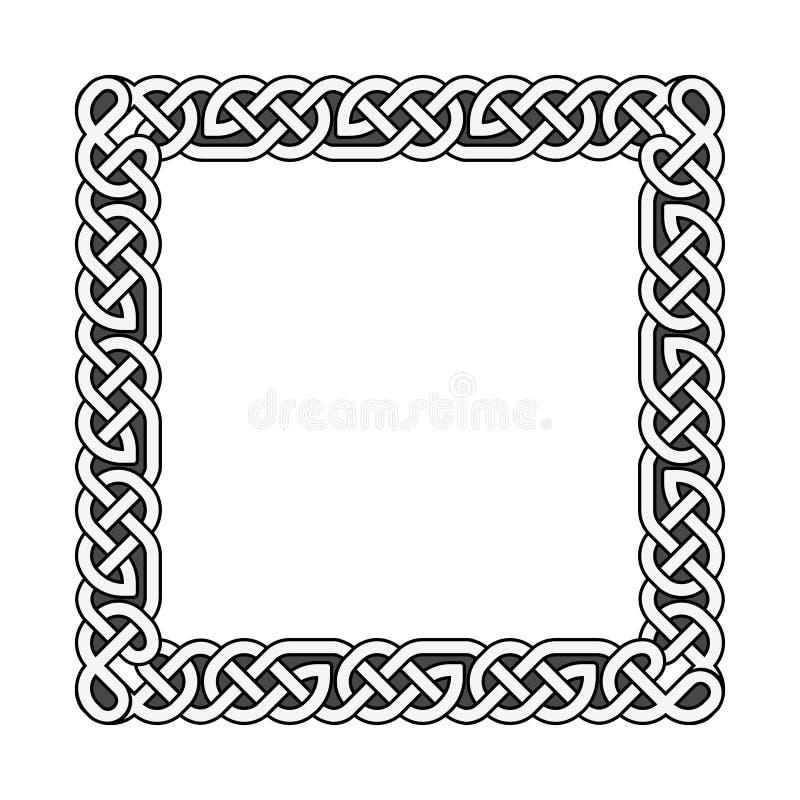 Quadratische keltische Knoten vector mittelalterlichen Rahmen in Schwarzweiss lizenzfreie abbildung