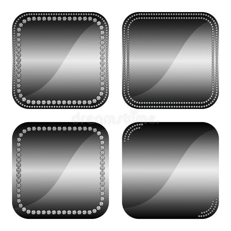 Quadratische Knöpfe mit Diamanten stockfotografie