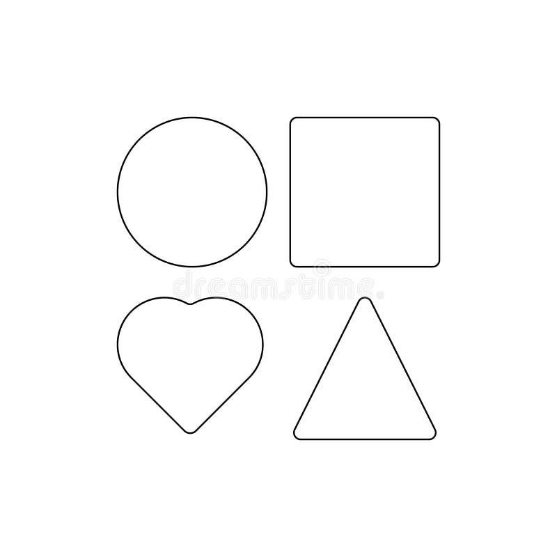 Quadratische Kreisdreieckherz-Entwurfsikone Zeichen und Symbole k?nnen f?r Netz, Logo, mobiler App, UI, UX verwendet werden lizenzfreie abbildung