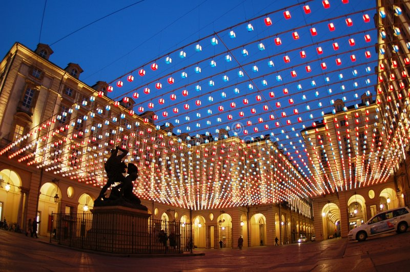 Quadratische Leuchten, Turin stockbilder