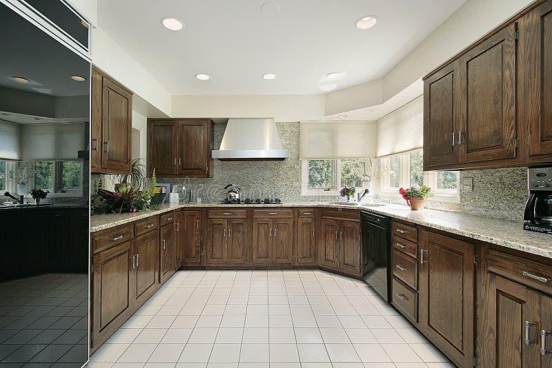 Quadratische moderne Küche stockbilder