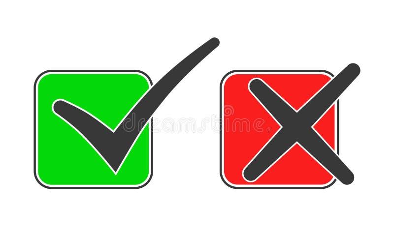 Quadratische Rahmen mit ja und keinen Häkchen Auch im corel abgehobenen Betrag stock abbildung