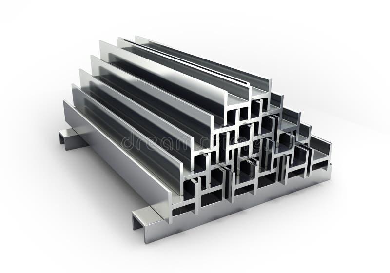 quadratische Rohre und -profile der Illustrationen 3d Metalllokalisiert auf whi stockbild
