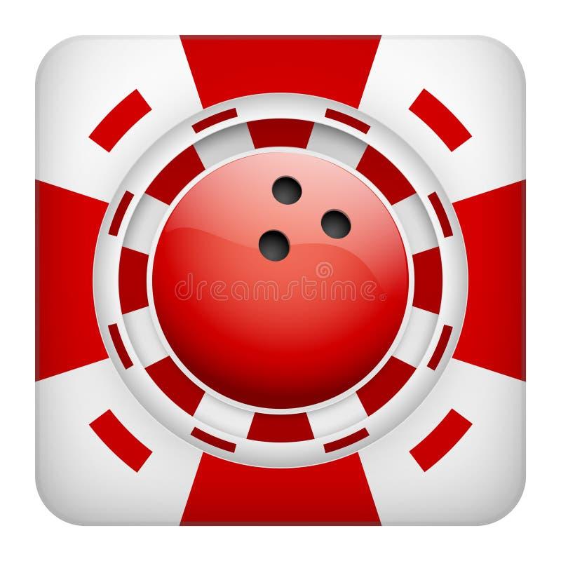Quadratische rote Kasinochips des Bowlingspiels trägt das Wetten zur Schau vektor abbildung
