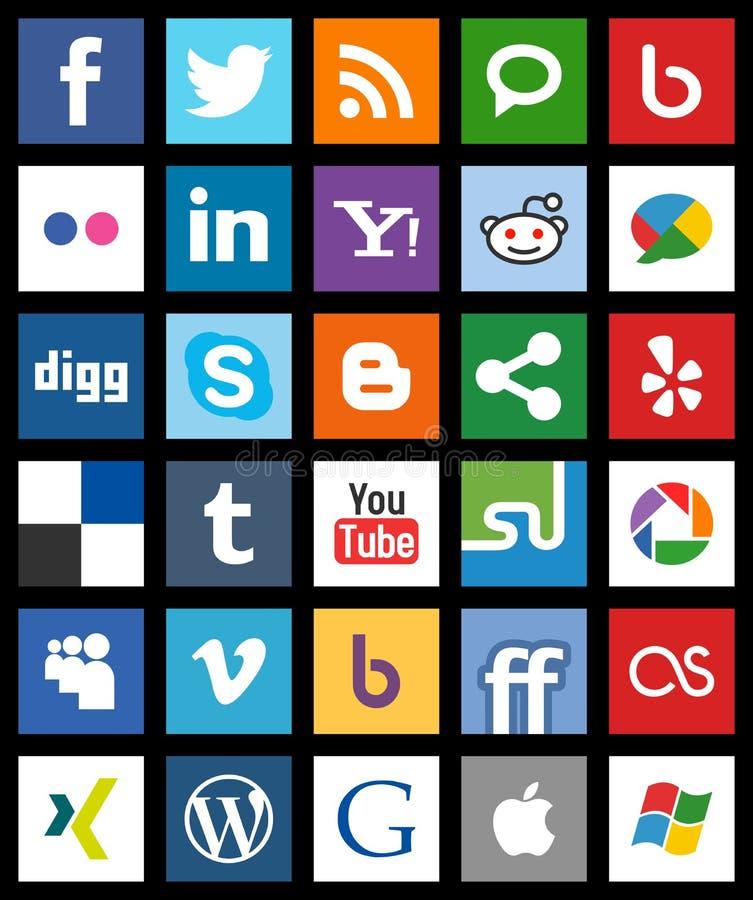 Quadratische Social Media-Ikonen-Metro-Art [1] stock abbildung