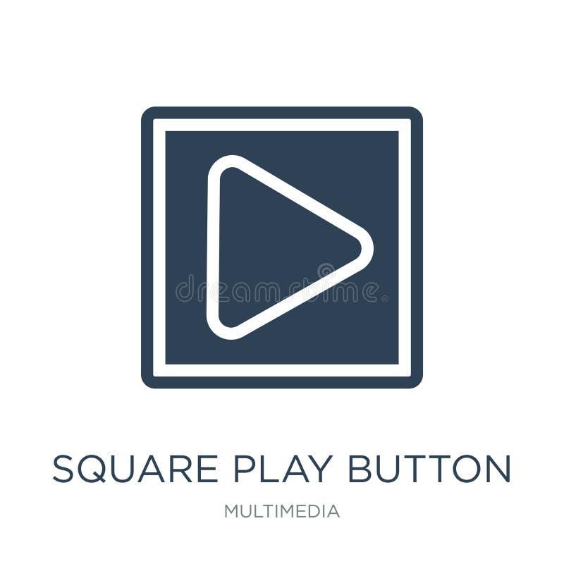 quadratische Spielknopfikone in der modischen Entwurfsart quadratische Spielknopfikone lokalisiert auf weißem Hintergrund quadrat lizenzfreie abbildung