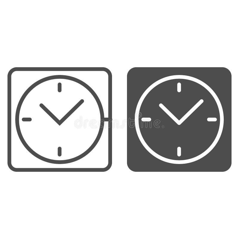 Quadratische Uhrlinie und Glyphikone Schreibtischuhr-Vektorillustration lokalisiert auf Weiß Uhrentwurfs-Artdesign, entworfen vektor abbildung