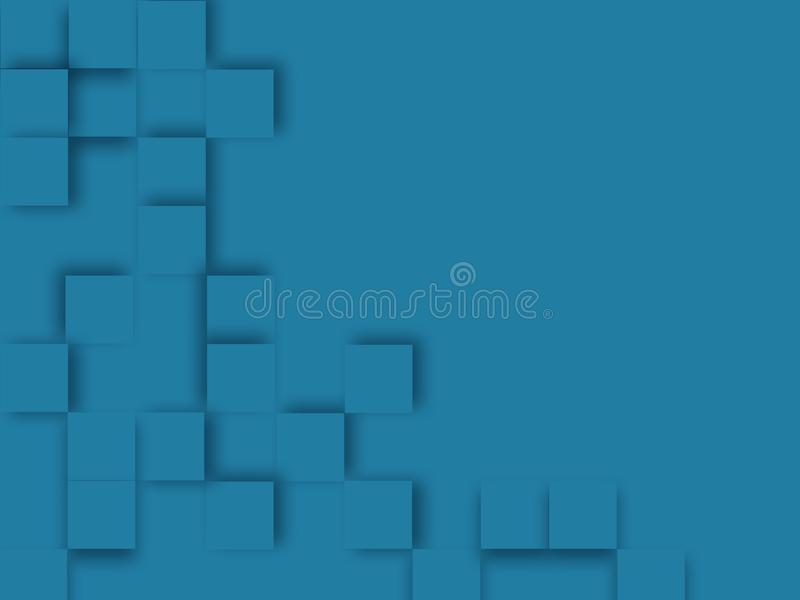 Quadratischer blauer Hintergrund der Zusammenfassung, geometrischer minimalistic Abdeckungsentwurf vektor abbildung