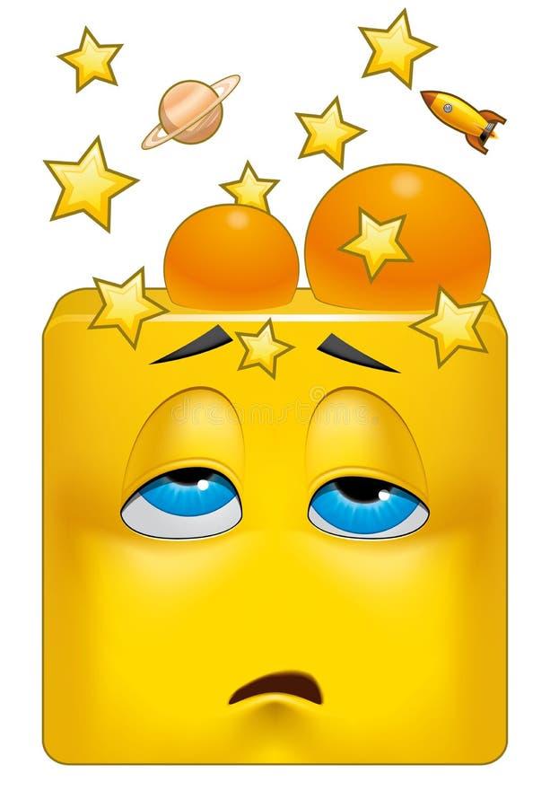 Quadratischer Emoticon geklopft lizenzfreie abbildung