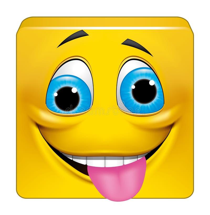 Quadratischer Emoticon verrückt stock abbildung