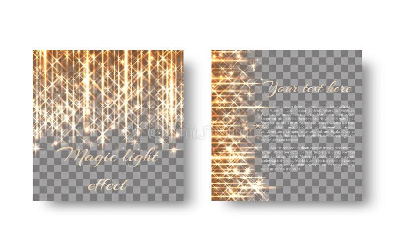 Quadratischer Hintergrund mit goldenem Licht lizenzfreie abbildung