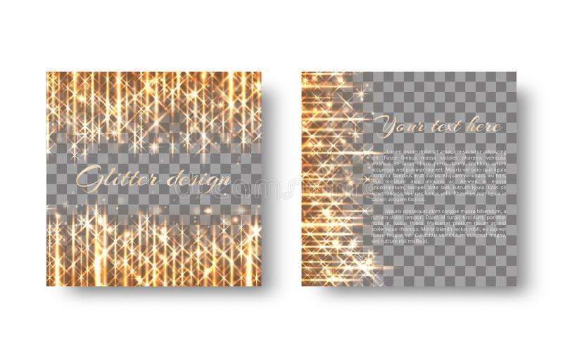 Quadratischer Hintergrund mit goldenen Funken stock abbildung