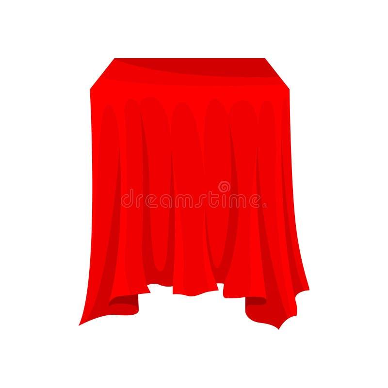 Quadratischer Kasten oder Tabelle bedeckt mit hellem rotem Stoff Textilmaterial Tischwäsche Silk Gewebe Flaches Vektordesign stock abbildung