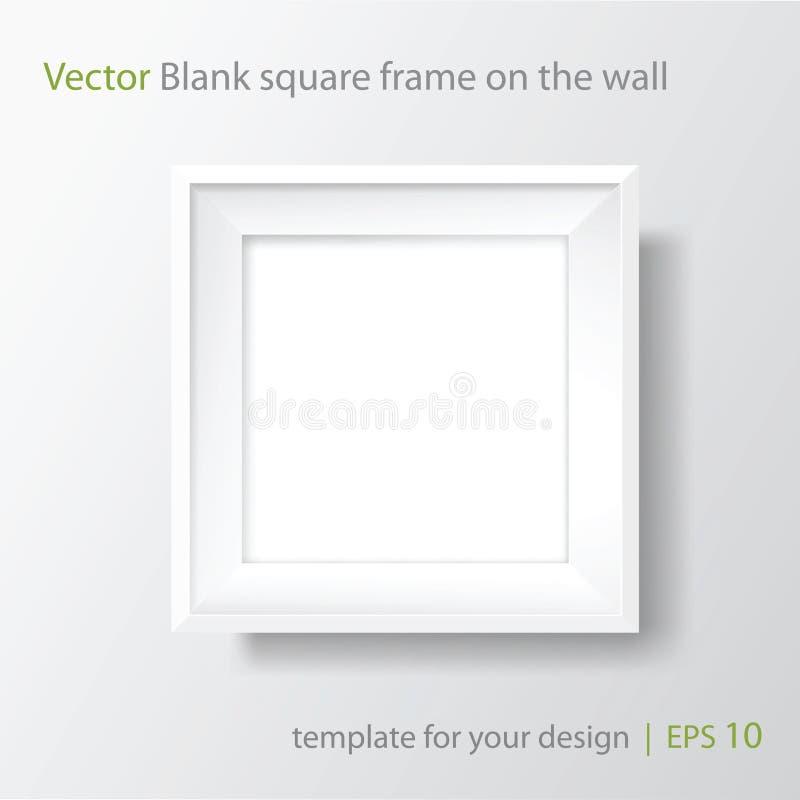 Quadratischer leerer weißer Rahmen auf weißer Wand Rand der Farbband-, Lorbeer- und Eichenblätter vektor abbildung
