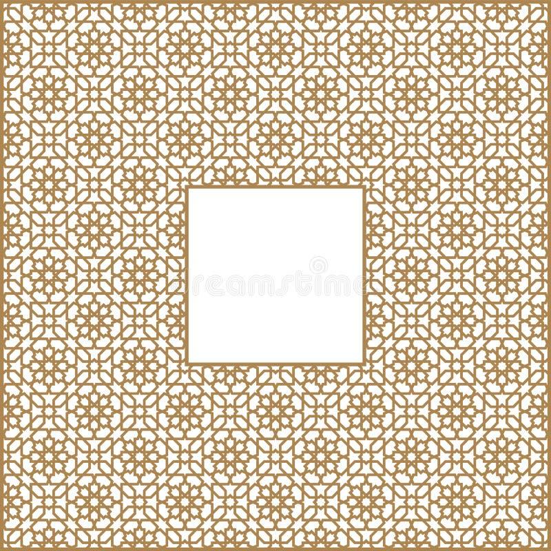 Quadratischer Rahmen des arabischen Musters von drei durch drei Blöcke stock abbildung