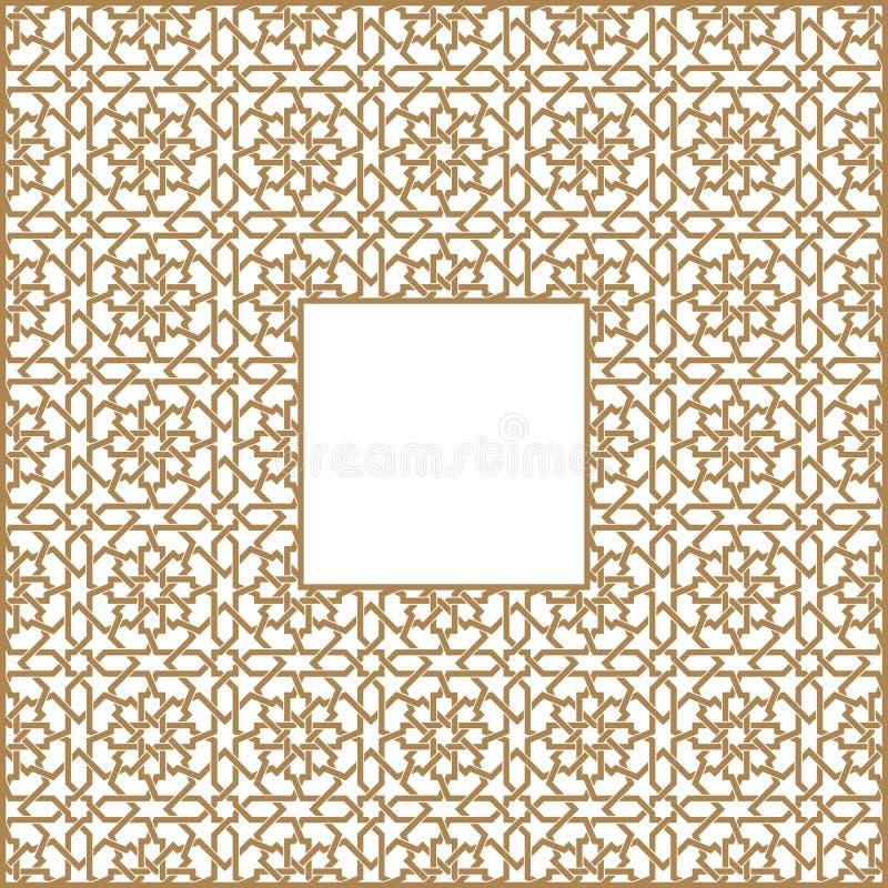 Quadratischer Rahmen des arabischen Musters von drei durch drei Blöcke vektor abbildung