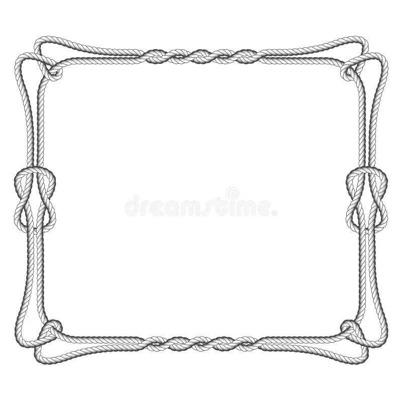 Quadratischer Rahmen des Seils mit Knoten stock abbildung